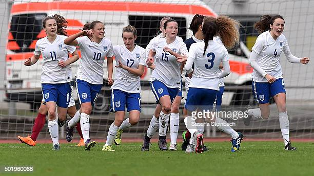 Georgia Stanway of England celebrates with team mates after scoring her team's third goal from a penalty during the U17 girl's international friendly...