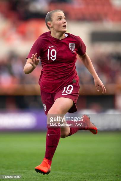 Georgia Stanway of England during the International Friendly between England Women and Spain Women at County Ground on April 9 2019 in Swindon England