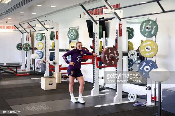 Georgia Stanway of England in the gym following an England Training Session in preparation for upcoming International matches at St George's Park on...
