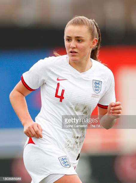 Georgia Stanway of England looks on during the Women's International Friendly match between England and Northern Ireland at St George's Park on...
