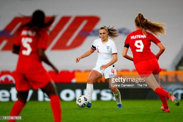 Georgia Stanway of England runs with the ball during the International Friendly match between England and Canada at Bet365 Stadium on April 13, 2021...