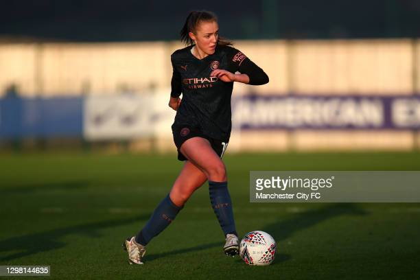Georgia Stanway of Man City looks to attack during the Barclays FA Women's Super League match between Brighton & Hove Albion Women and Manchester...