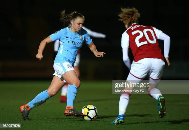 Georgia Stanway of Manchester City advances under pressure from Dominique Janssen of Arsenal during the WSL Continental Cup Final between Arsenal...