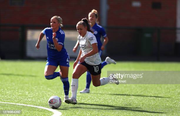 Georgia Stanway of Manchester City and Aimee Everett of Leicester City in action during the Vitality Women's FA Cup Quarter Final match between...
