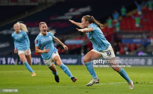 Georgia Stanway of Manchester City celebrates after scoring her team's second goal during the Vitality Women's FA Cup Final match between Everton...