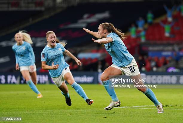 Georgia Stanway of Manchester City celebrates after scoring her teams second goal during the Vitality Women's FA Cup Final match between Everton...