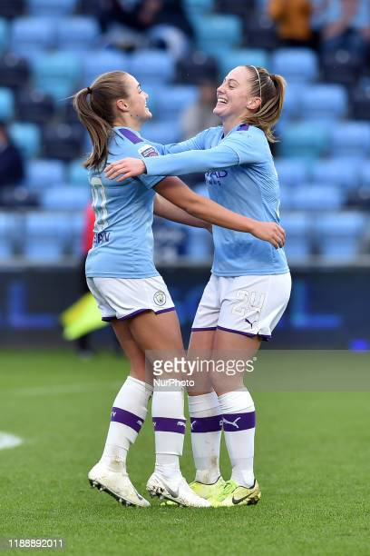 Georgia Stanway of Manchester City celebrates scoring her sides fourth goal during the Barclays FA Women's Super League match between Manchester City...