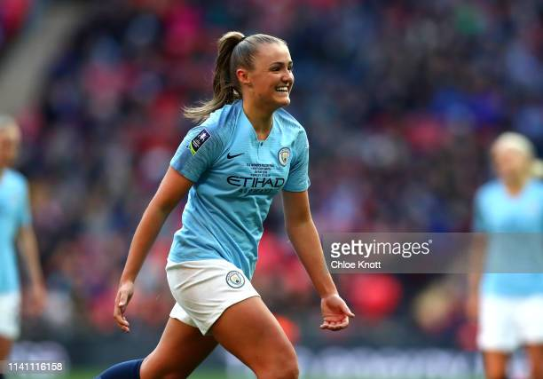 Georgia Stanway of Manchester City celebrates scoring her team's second goal during the Women's FA Cup Final match between Manchester City Women and...