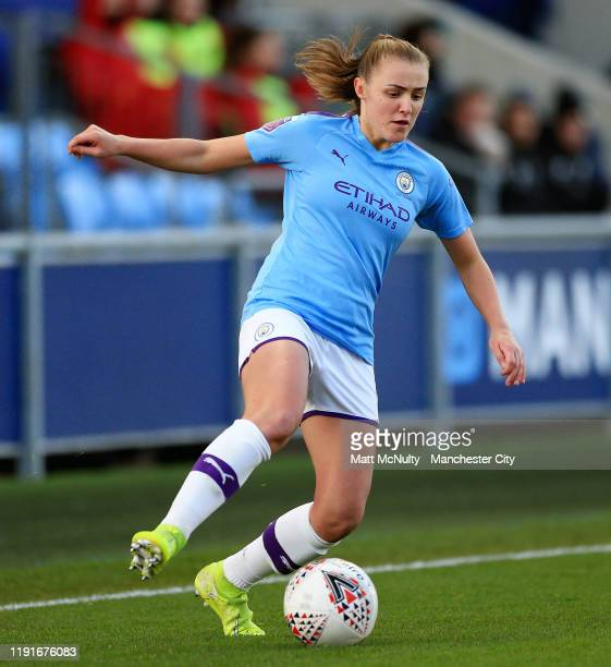 Georgia Stanway of Manchester City in action during the Barclays FA Women's Super League match between Manchester City and Liverpool at The Academy...
