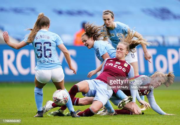 Georgia Stanway of Manchester City is tackled during the Barclays FA Women's Super League match between Manchester City Women and Aston Villa Women...