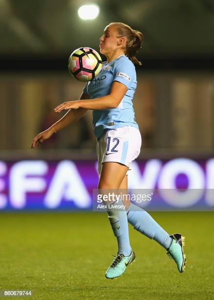 Georgia Stanway of Manchester City Ladies controls the ball during the UEFA Women's Champions League match between Manchester City Ladies and St...