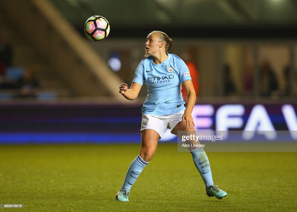Georgia Stanway of Manchester City Ladies controls the ball during the UEFA Women's Champions League match between Manchester City Ladies and St. Polten Ladies at Manchester City Football Academy on October 12, 2017 in Manchester, England.