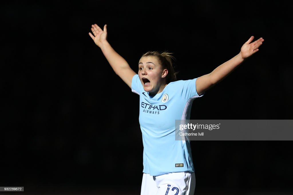 Georgia Stanway of Manchester City Ladies reacts during the WSL