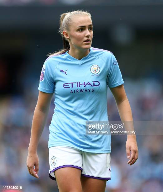 Georgia Stanway of Manchester City looks on during the Barclays FA Women's Super League match between Manchester City and Manchester United at Etihad...