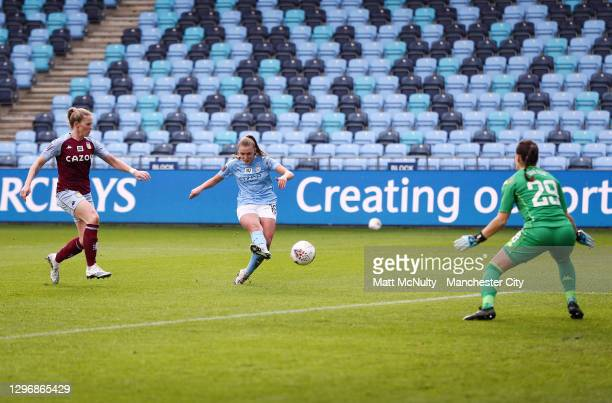 Georgia Stanway of Manchester City scores her teams fourth goal during the Barclays FA Women's Super League match between Manchester City Women and...