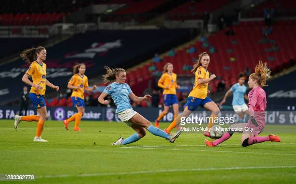 Georgia Stanway of Manchester City scores her team's second goal past Sandy MacIver of Everton during the Vitality Women's FA Cup Final match between...
