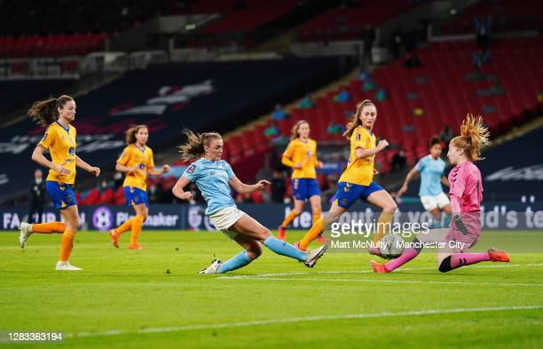 Georgia Stanway of Manchester City scores her teams second goal during the Vitality Women's FA Cup Final match between Everton Women and Manchester...