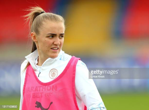 Georgia Stanway of Manchester City warms up ahead of the Barclays FA Women's Super League match between West Ham United Women and Manchester City...