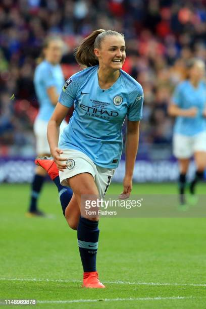 Georgia Stanway of Manchester City Women celebrates after scoring her team's second goal during the Women's FA Cup Final match between Manchester...
