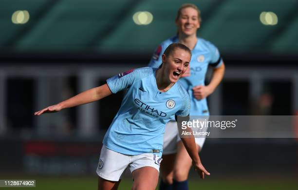 Georgia Stanway of Manchester City Women celebrates after scoring the second goal of Manchester City Women of Chelsea Women during the FA WSL match...