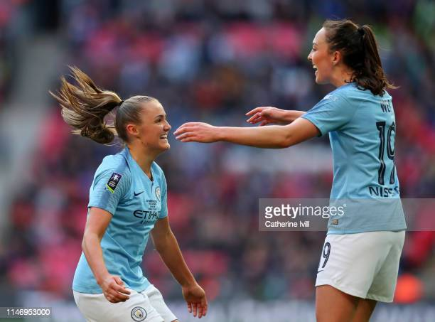 Georgia Stanway of Manchester City Women celebrates with teammate Caroline Weir after scoring her team's second goal during the Women's FA Cup Final...