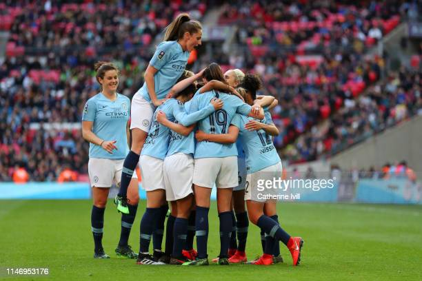 Georgia Stanway of Manchester City Women celebrates with teammates after scoring her team's second goal during the Women's FA Cup Final match between...