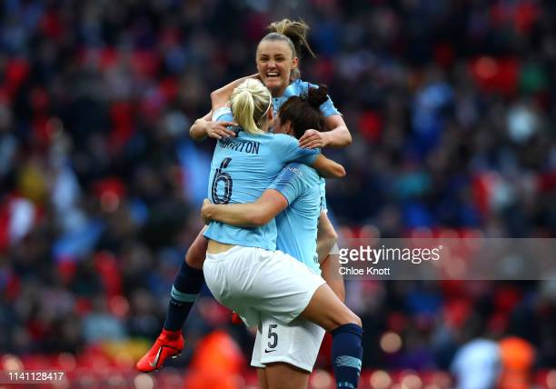 Georgia Stanway Steph Houghton and Jen Beatie celebrate winning the Women's FA Cup Final match between Manchester City Women and West Ham United...