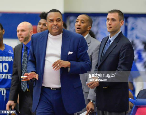 Georgia State head coach Ron Hunter along with assistant coaches Claude Pardue and Sharman White in a Sun Belt Conference basketball game at the GSU...