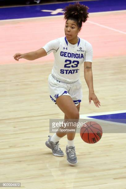Georgia State Lady Panthers guard Madison Newby directs the offense in the game between Arkansas State Red Wolves and the Georgia State Lady Panthers...