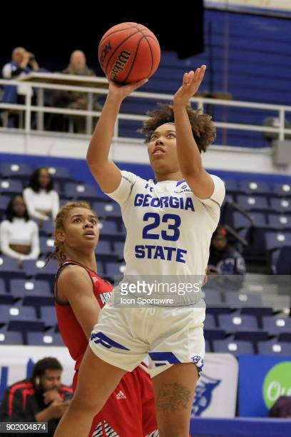 Georgia State Lady Panthers guard Madison Newby takes a shot in the game between Arkansas State Red Wolves and the Georgia State Lady Panthers...