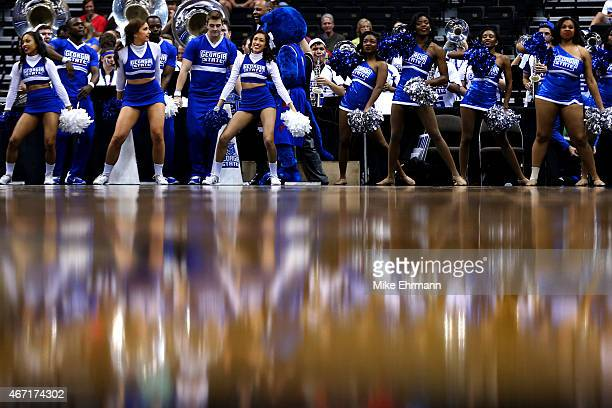 Georgia State Panthers cheerleaders perform before the Georgia State Panthers play the Xavier Musketeers during the third round of the 2015 NCAA...