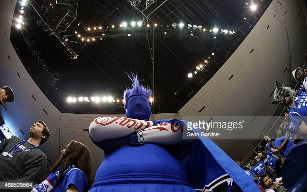 Georgia State Panthers fan poses during the Sun Belt Conference Men's Championship game at the UNO Lakefront Arena on March 15 2015 in New Orleans...