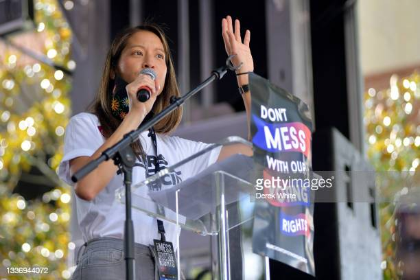 Georgia State Representative Bee Nguyen speaks at the March On For Voting Rights at The King Center on August 28, 2021 in Atlanta, Georgia.