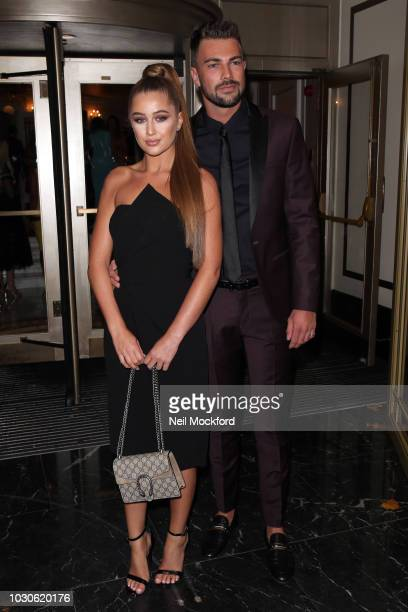Georgia Steel and Sam Bird arrives for The TV Choice Awards at the Dorchester Hotel on September 10 2018 in London England