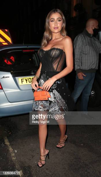 Georgia Steel seen attending National Television Awards 2021 afterparty at Bagatelle in Mayfair on September 09, 2021 in London, England.