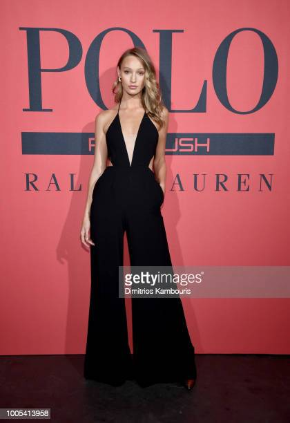 Georgia Sumner attends the Polo Red Rush Launch Party with Ansel Elgort at Classic Car Club Manhattan on July 25 2018 in New York City