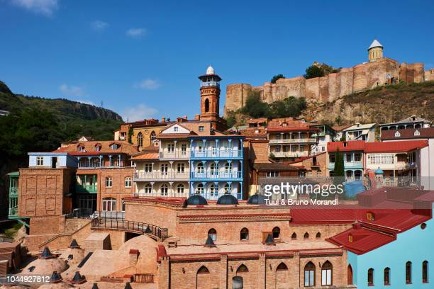 georgia, tbilisi, old city, narikala forteress - トビリシ ストックフォトと画像