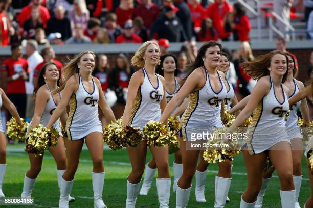 Georgia Tech cheerleaders on the field prior to the college football game between the University of Georgia Bulldogs and the Georgia Tech Yellow...