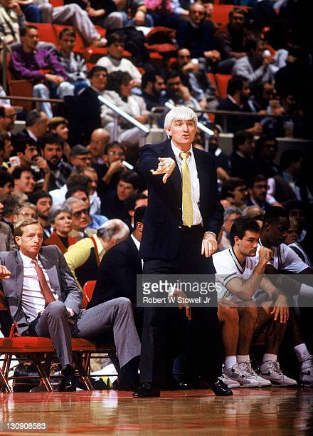 Georgia Tech coach Bobby Cremins works the game from the sidelines, against the University of Connecticut, in Hartford, Connecticut, 1990. (Photo by...