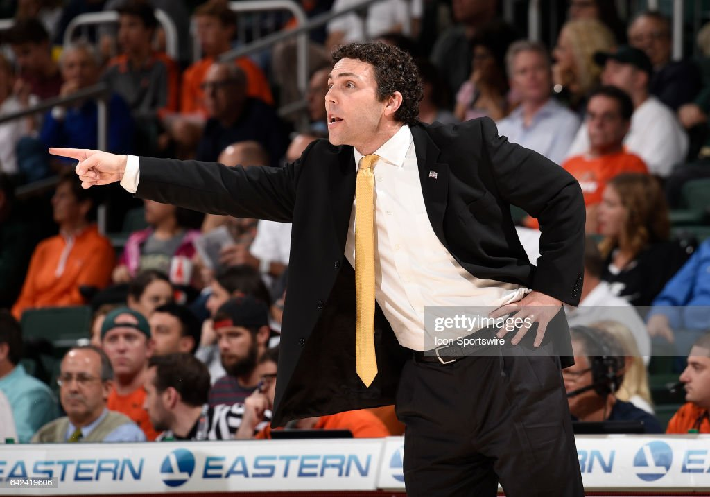 Georgia Tech Head Coach Josh Pastner looks on during a college basketball game between the Georgia Tech Yellow Jackets and the University of Miami Hurricanes on February 15, 2017 at the Watsco Center, Coral Gables, Florida. Miami defeated Georgia Tech 70-61.