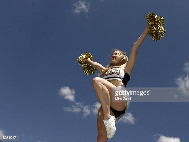 Georgia Tech Yellow Jackets cheerleader rallies the crowd during the Georgia Tech TDay Spring football game on April 19 2008 at Historic Grant Field...