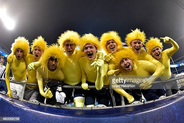 Georgia Tech Yellow Jackets fans cheer for their team during the Atlantic Coast Conference championship game on December 6 2014 at the Bank of...