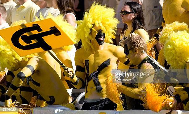 Georgia Tech Yellow Jackets fans get fired up prior to the game against the Clemson Tigers at Bobby Dodd Stadium on September 29 2007 in Atlanta...
