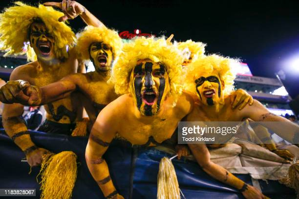 Georgia Tech Yellow Jackets fans react during the second half against the North Carolina State Wolfpack at Bobby Dodd Stadium on November 21, 2019 in...