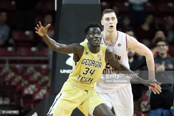 Georgia Tech Yellow Jackets forward Abdoulaye Gueye calls for the ball while defended by Boston College Eagles forward Nik Popovic during a college...