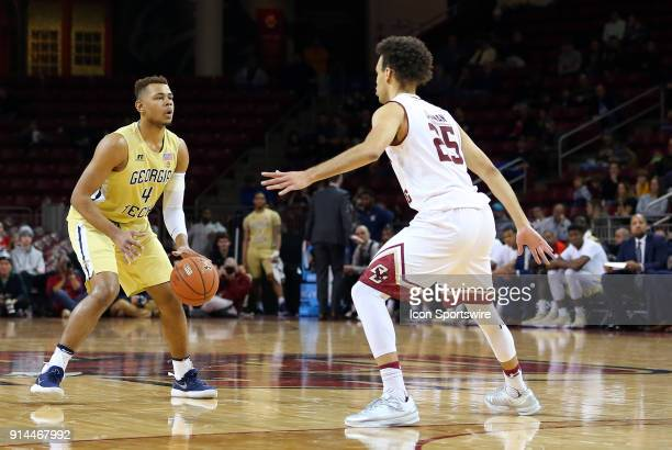 Georgia Tech Yellow Jackets guard Brandon Alston and Boston College Eagles guard Jordan Chatman in action during a college basketball game between...