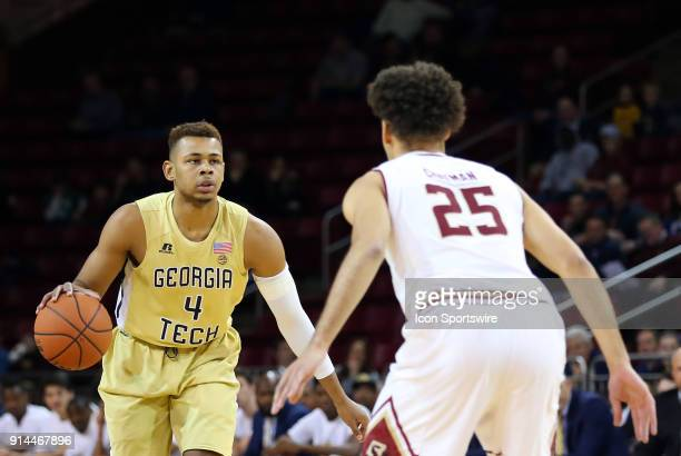 Georgia Tech Yellow Jackets guard Brandon Alston defended by Boston College Eagles guard Jordan Chatman during a college basketball game between...