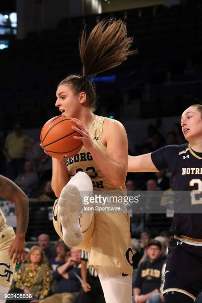 Georgia Tech Yellow Jackets guard Francesca Pan grabs a rebound during the women's college basketball game between the Notre Dame Fighting Irish and...