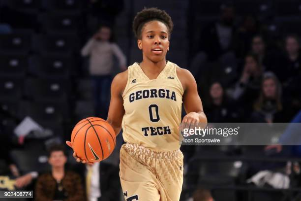 Georgia Tech Yellow Jackets guard Imani Tilford brings the ball up the court during the women's college basketball game between the Notre Dame...