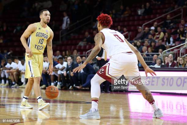 Georgia Tech Yellow Jackets guard Jose Alvarado defended by Boston College Eagles guard Ky Bowman during a college basketball game between Georgia...